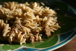 Seasoned Gluten-Free Noodles with Meat- gluten, dairy, egg free meal idea