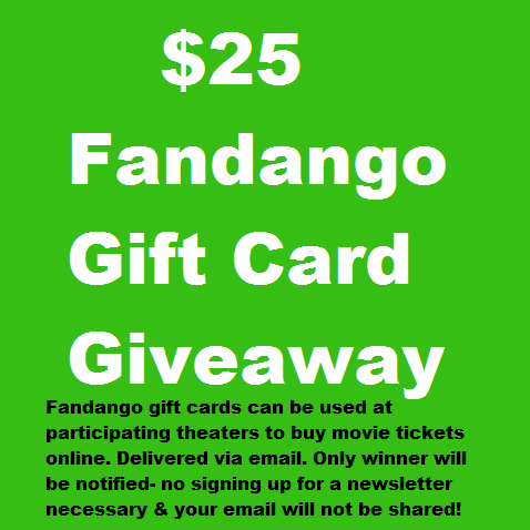 $25 Fandango Gift Card Giveaway. Zero Spam