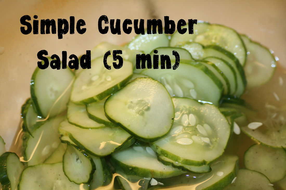 Simple Cucumber Salad- Hint of Sweet in Mellow Vinegar- Gluten, Dairy, Egg Free Recipe for snack or side dish